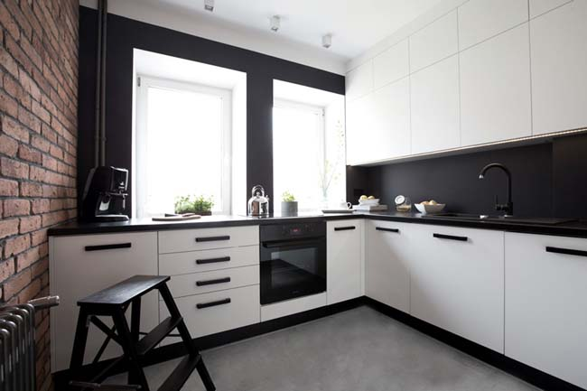 черно белое кухни фото